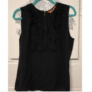 Tory Burch Black Button Up Zip Up Sleeveless Top